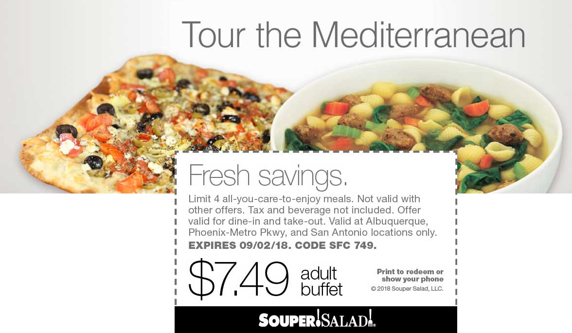 Souper Salad Coupon July 2019 $7.49 buffet at Souper Salad restaurants