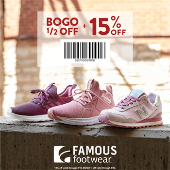 FamousFootwear.com Promo Coupon 15% off at Famous Footwear