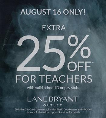 LaneBryantOutlet.com Promo Coupon Teachers enjoy extra 25% off Thursday at Lane Bryant Outlet