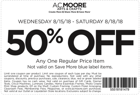 A.C. Moore Coupon January 2019 50% off a single item at A.C. Moore