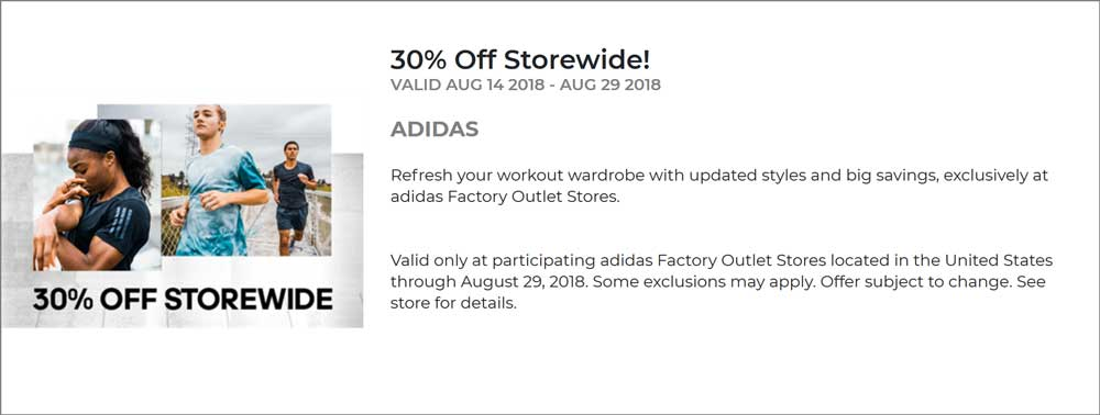 Adidas Factory Outlet Coupon November 2019 Extra 30% off everything at Adidas Factory Outlet