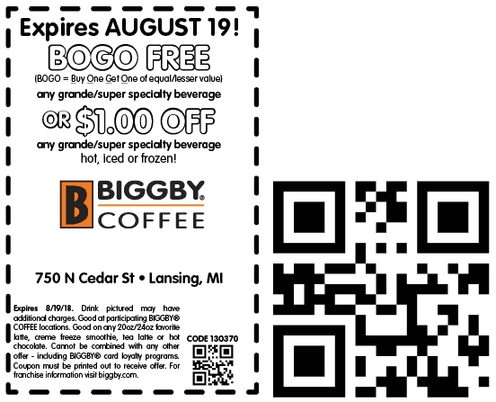 Biggby Coffee Coupon November 2019 Second beverage free at Biggby Coffee