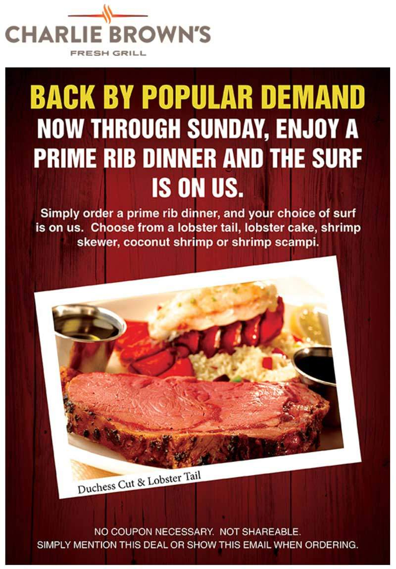Charlie Browns Coupon November 2019 Free lobster with your prime rib at Charlie Browns restaurants