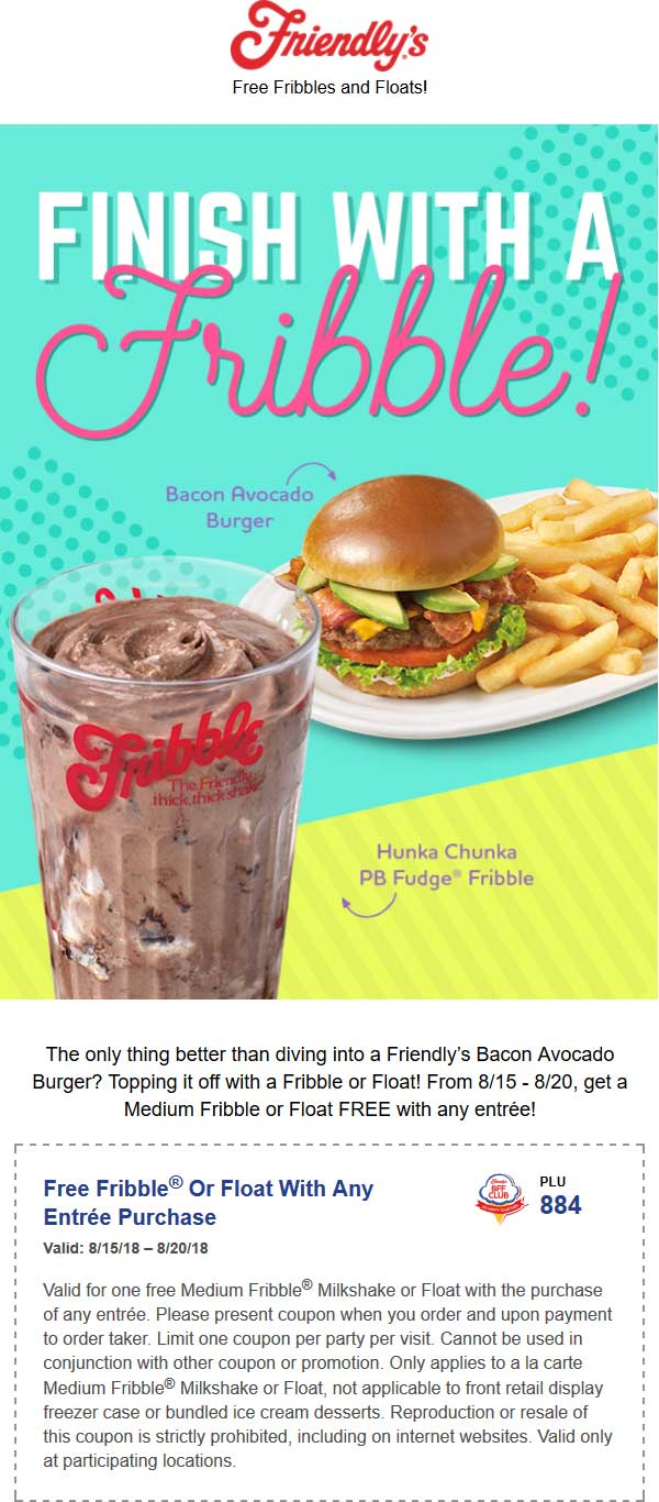 Friendlys Coupon September 2018 Free float with your entree at Friendlys restaurants