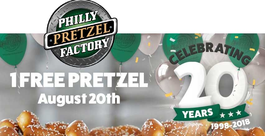 Philly Pretzel Factory Coupon November 2019 Free pretzel Monday at Philly Pretzel Factory
