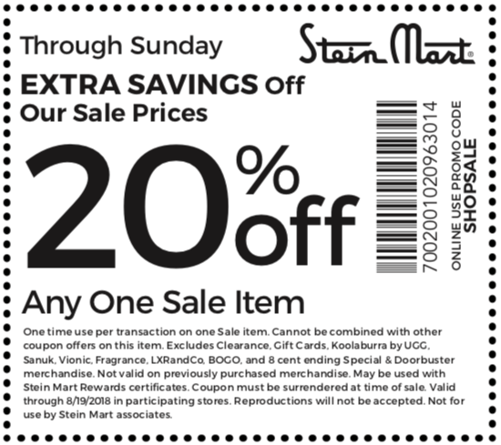 Stein Mart Coupon September 2018 20% off a single sale item at Stein Mart, or online via promo code SHOPSALE