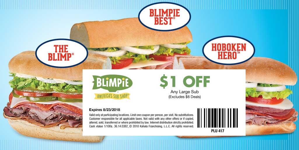 Blimpie Coupon November 2019 $1 off a sub sandwich at Blimpie restaurants
