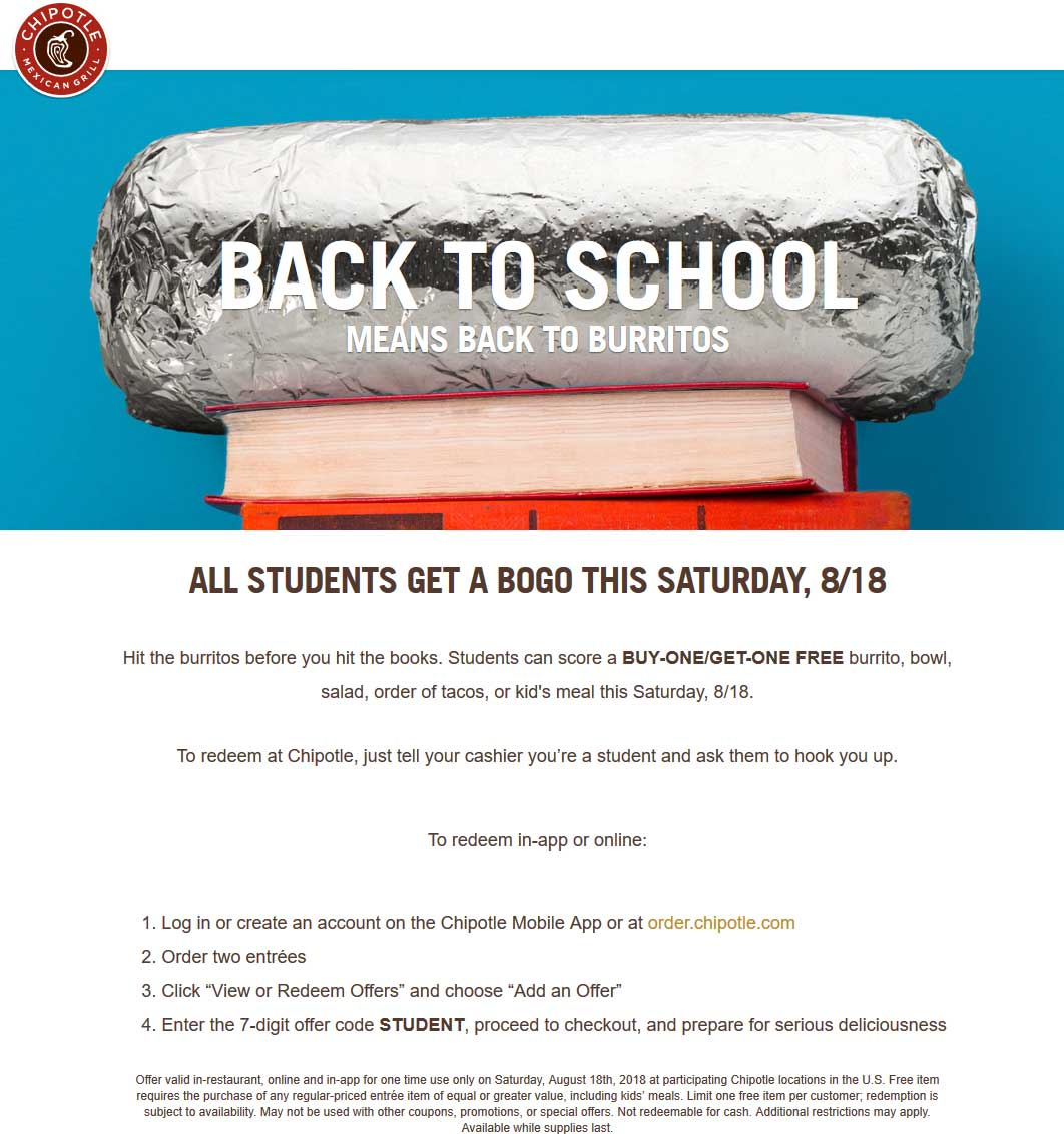 Chipotle.com Promo Coupon Students enjoy second burrito or bowl free Saturday at Chipotle