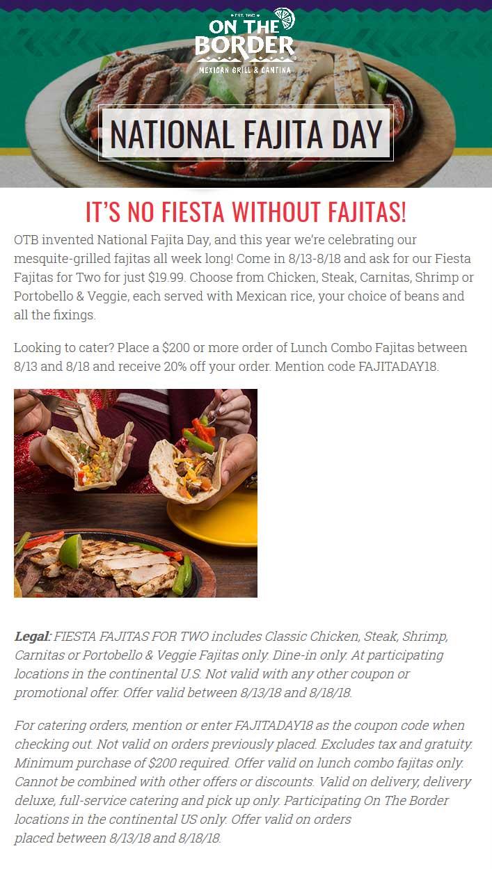 On The Border Coupon November 2019 2 fajitas = $20 at On The Border restaurants