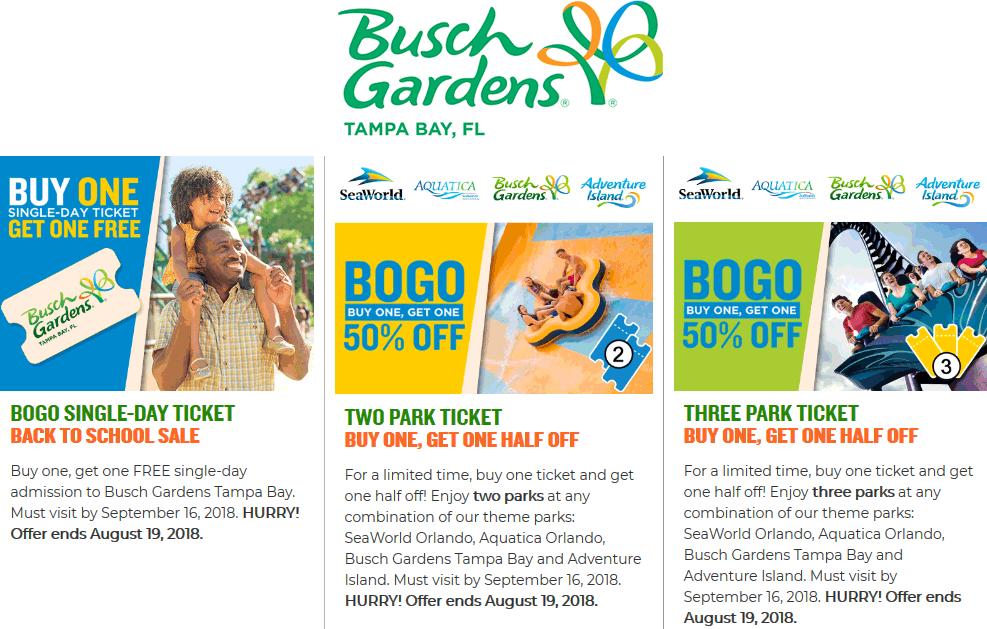 Busch Gardens Coupon November 2019 Second Busch Gardens amusement park ticket free