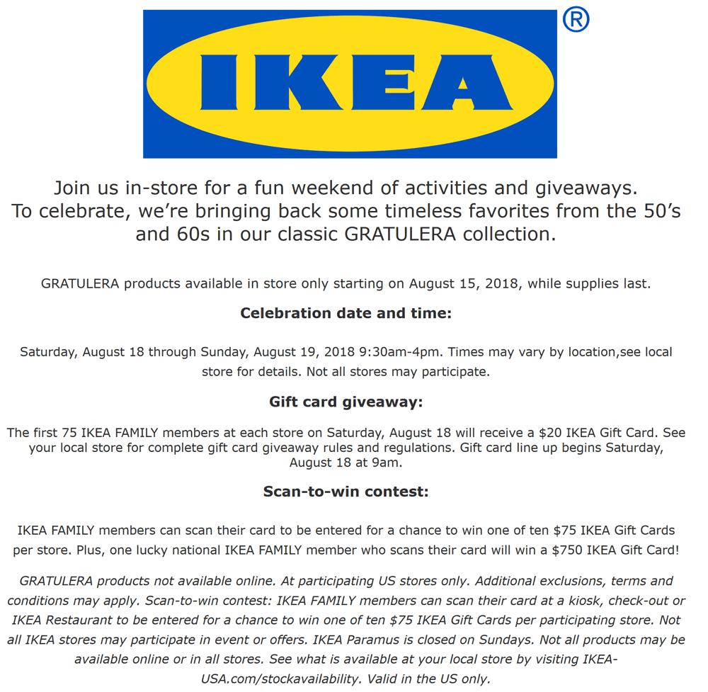 IKEA.com Promo Coupon First 75 at IKEA today score a free $20 gift card