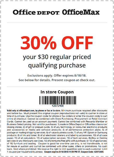 OfficeDepot.com Promo Coupon 30% off $30 today at OfficeMax & Office Depot, ditto online