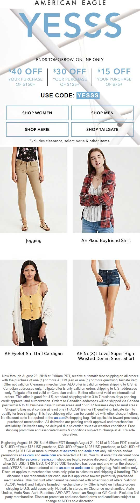 American Eagle Coupon November 2019 $15 off $75 & more online at American Eagle via promo code YESSS
