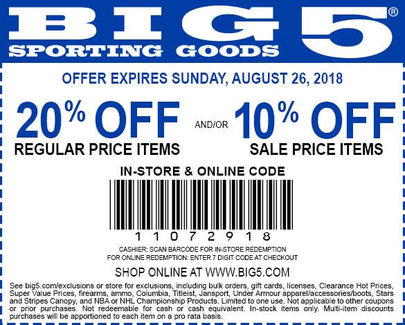 Big5.com Promo Coupon 20% off at Big 5 sporting goods, or online via promo code 11072918