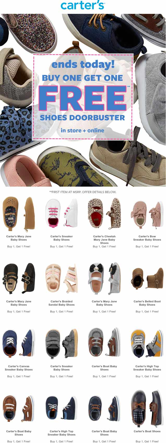 Carters Coupon November 2019 2nd pair shoes free today at Carters, ditto online