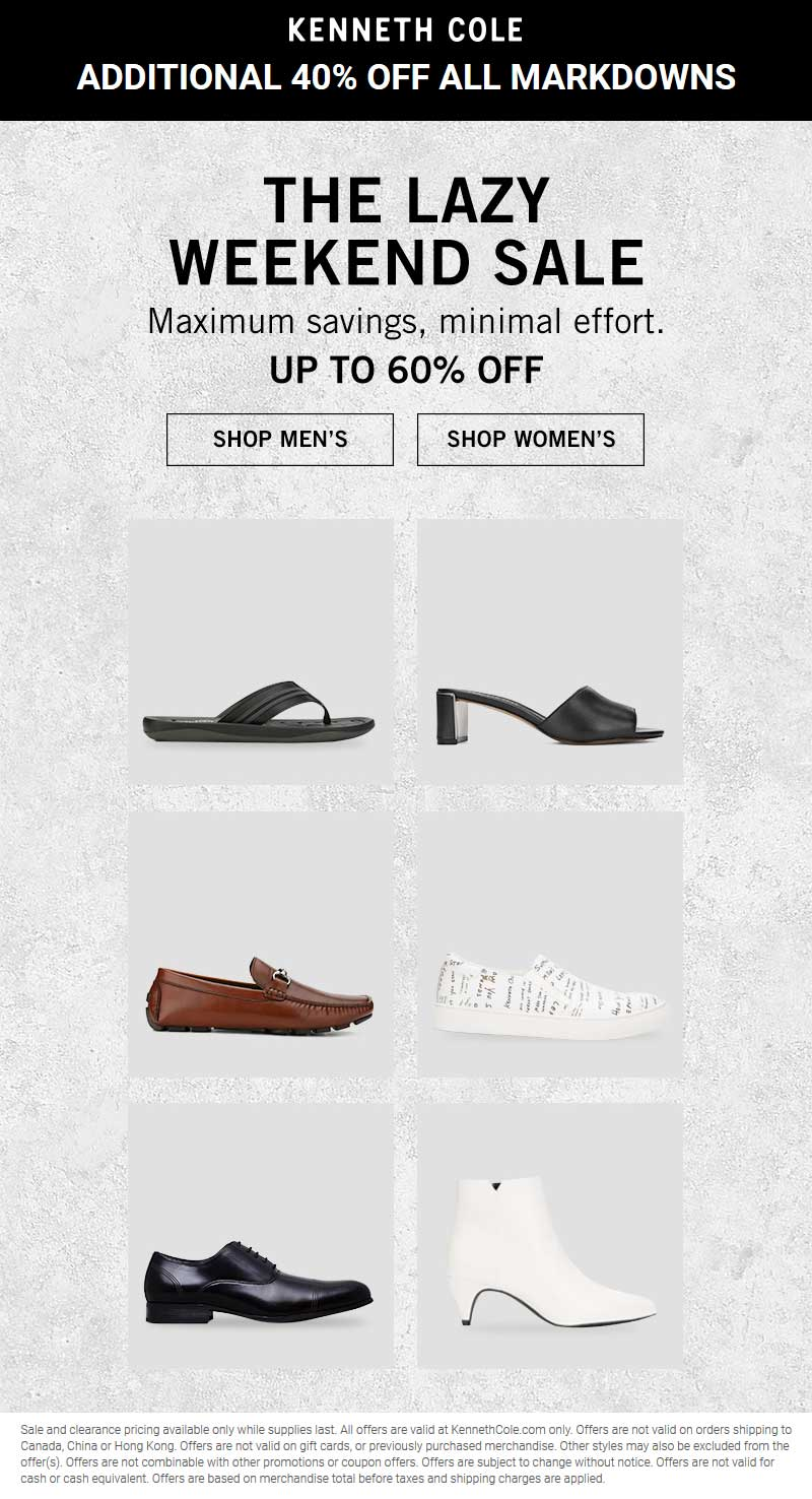 Kenneth Cole Coupon November 2019 Extra 40% off sale items online today at Kenneth Cole