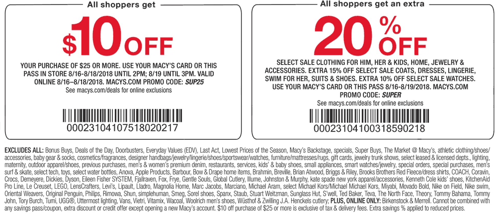 Macys Coupon November 2019 $10 off $25 today at Macys, or online via promo code SUP25
