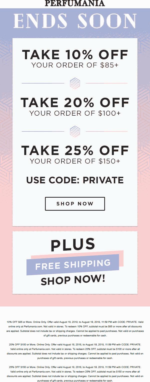 Perfumania Coupon November 2019 10-25% off $85+ today online at Perfumania via promo code PRIVATE