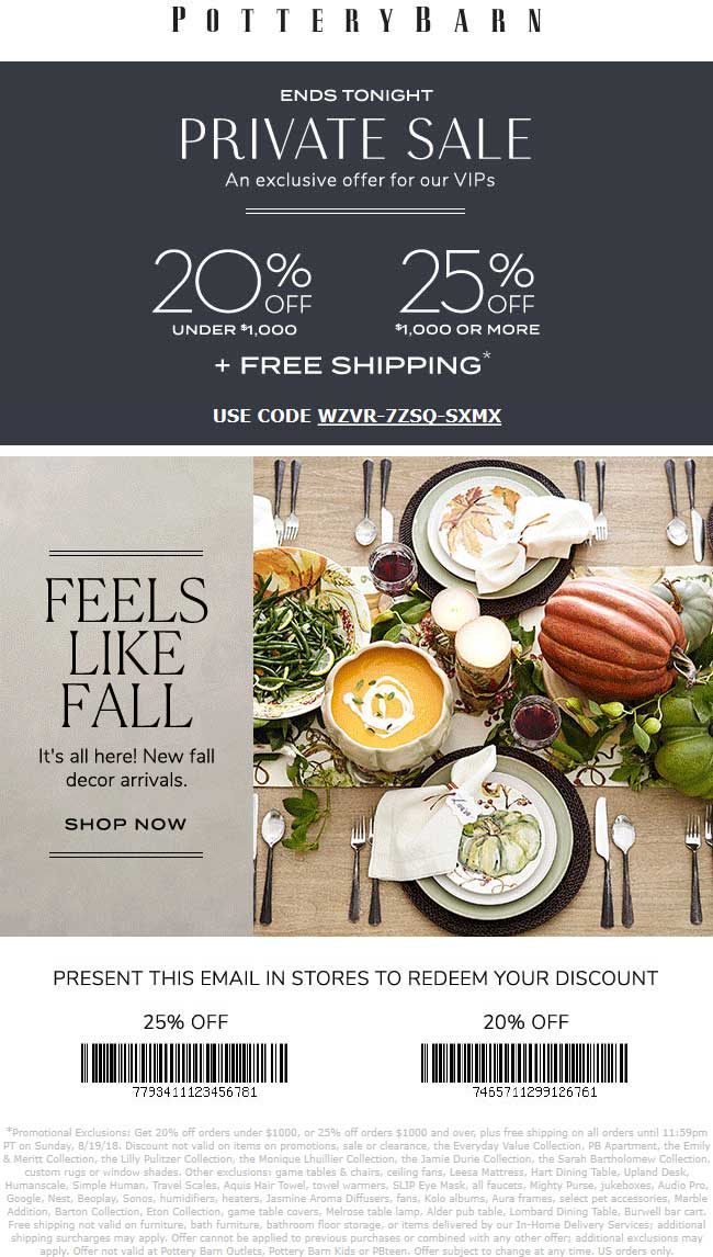 Pottery Barn Coupon November 2019 20-25% off today at Pottery Barn, or online via promo code WZVR-7ZSQ-SXMX