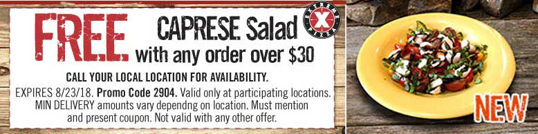 Extreme Pizza Coupon November 2019 Free caprese salad with $30 spent at Extreme Pizza