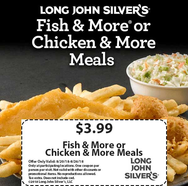 LongJohnSilvers.com Promo Coupon $4 fish or chicken meals at Long John Silvers