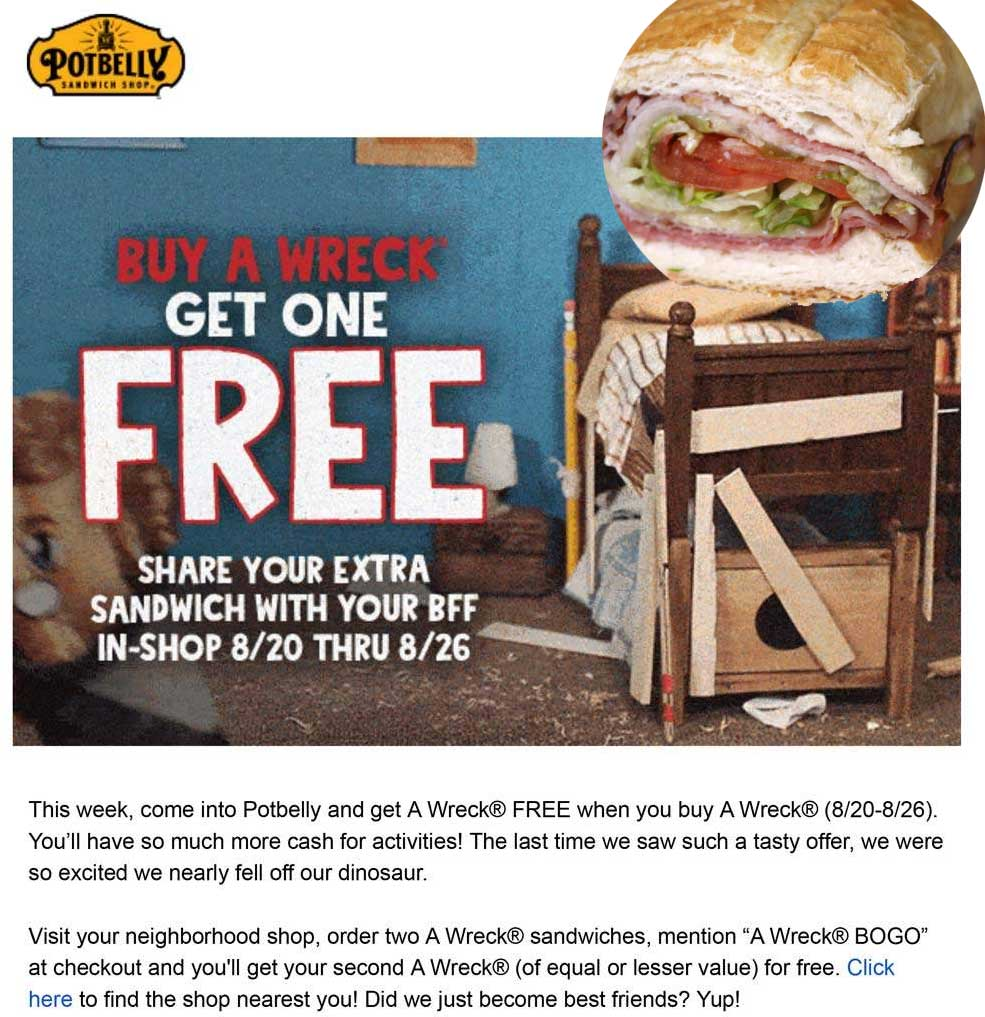 Potbelly Coupon November 2019 Second wreck sandwich free at Potbelly