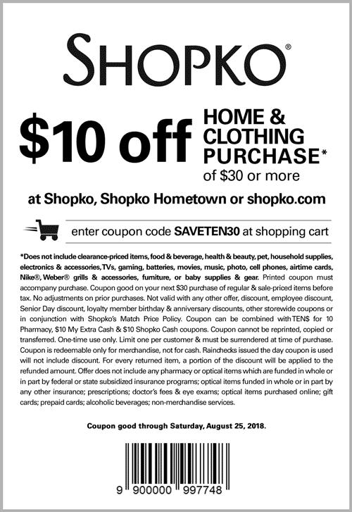 Shopko Coupon November 2019 $10 off $30 at Shopko, or online via promo code SAVETEN30