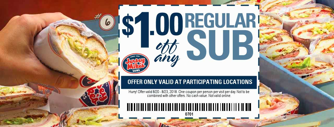 Jersey Mikes Coupon November 2019 Shave a buck off your sub sandwich at Jersey Mikes