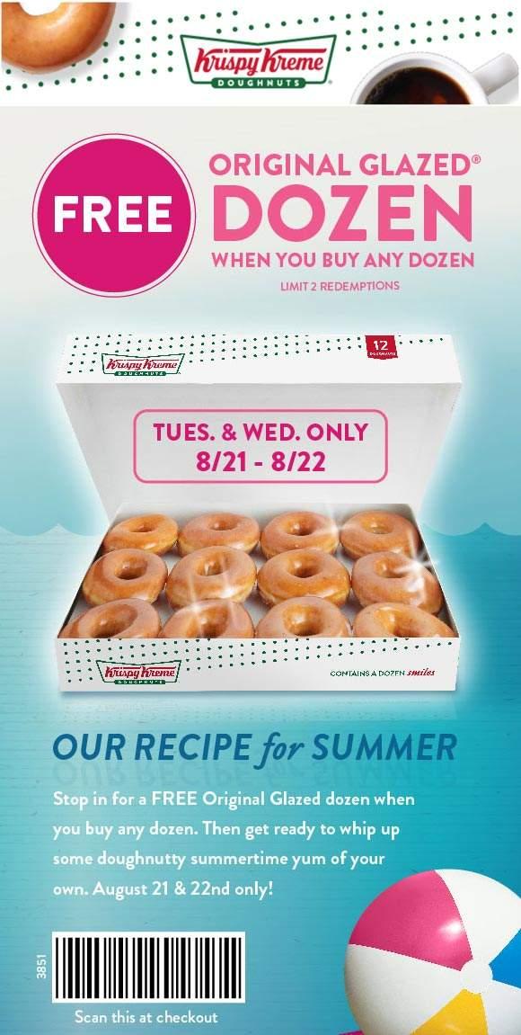 Krispy Kreme Coupon November 2019 Second dozen doughnuts free at Krispy Kreme