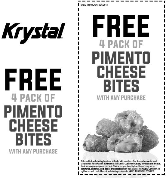 Krystal Coupon November 2019 Free cheese bites with any order at Krystal restaurants