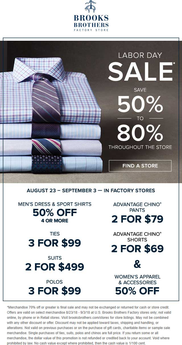 Brooks Brothers Factory Coupon November 2019 Extra 50-80% off at Brooks Brothers Factory