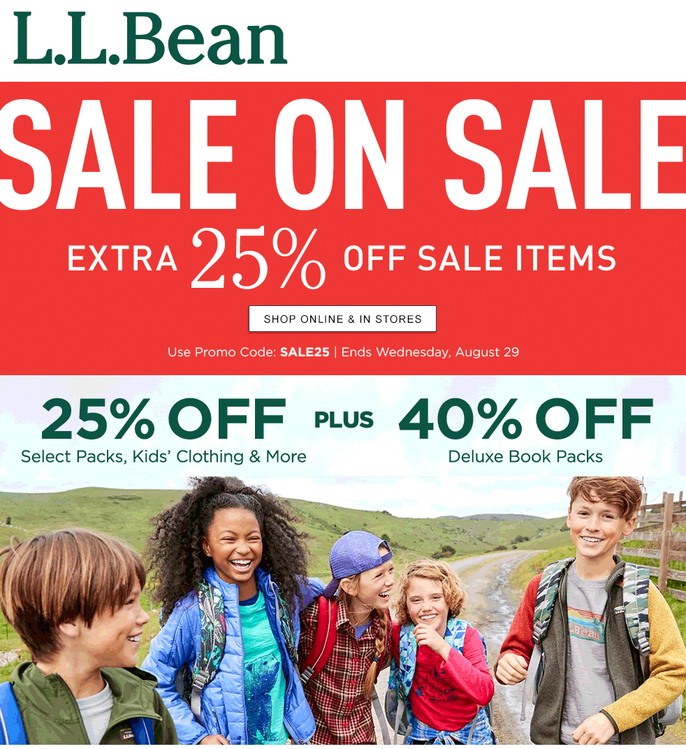 L.L.Bean.com Promo Coupon Extra 25% off sale items at L.L.Bean, or online via promo code SALE25
