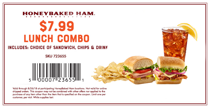 HoneyBaked Coupon November 2019 Lunch sandwich + chips + drink = $8 at Honeybaked Ham