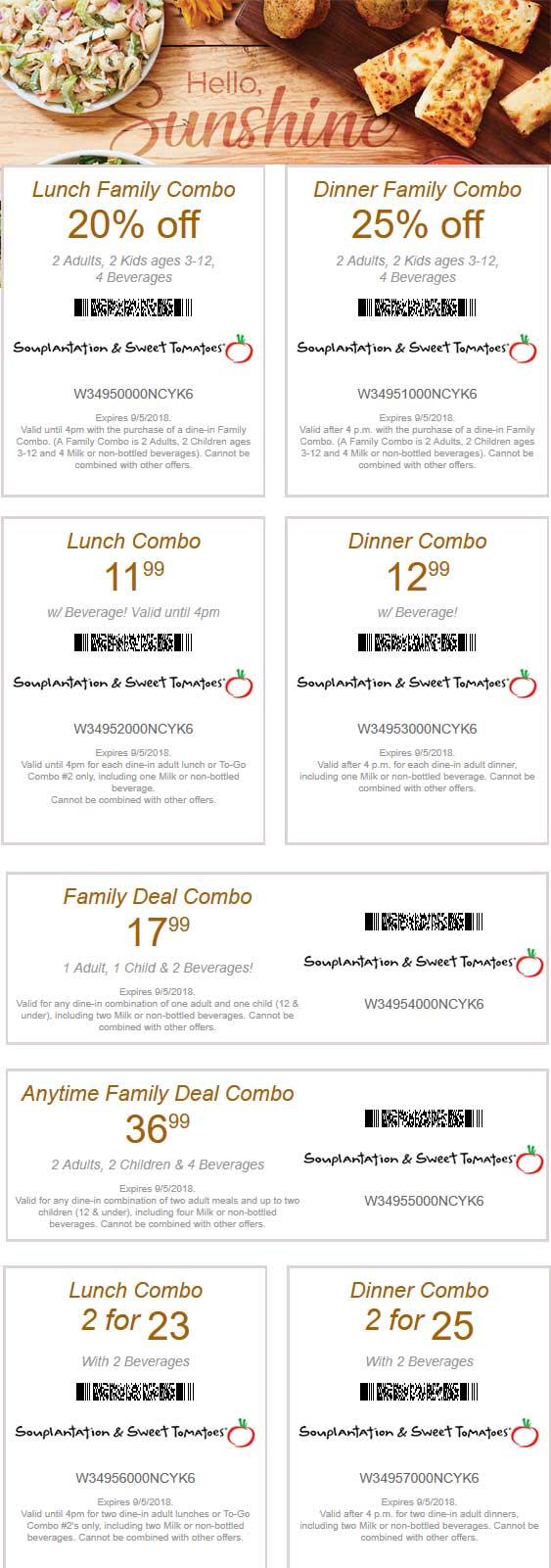 Sweet Tomatoes Coupon November 2019 20-25% off & more at Souplantation & Sweet Tomatoes restaurants