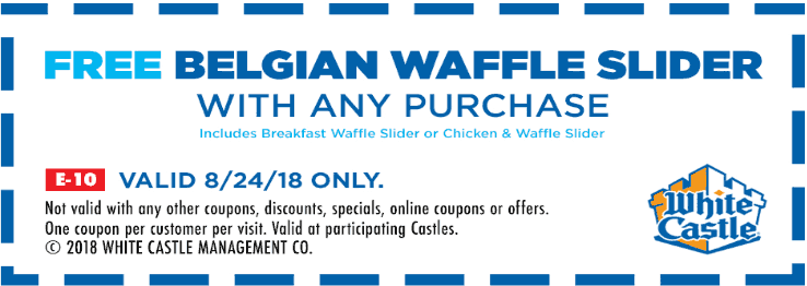 White Castle Coupon November 2019 Free waffle slider with any order today at White Castle restaurants