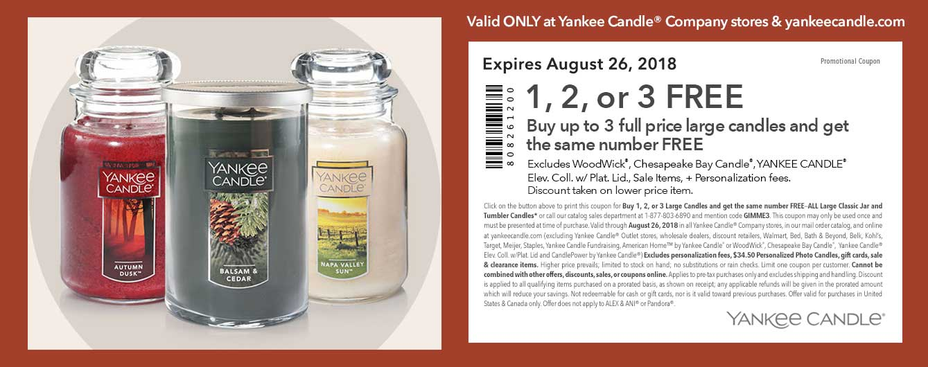 Yankee Candle Coupon November 2019 Second candle free at Yankee Candle, or online via promo code GIMME3