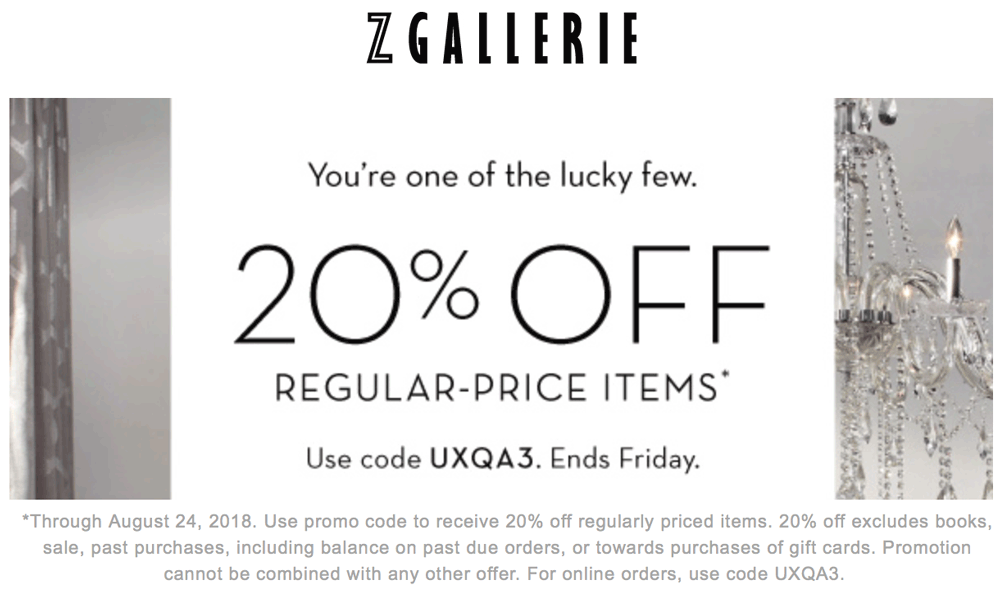 Z Gallerie Coupon November 2019 20% off today at Z Gallerie, or online via promo code UXQA3