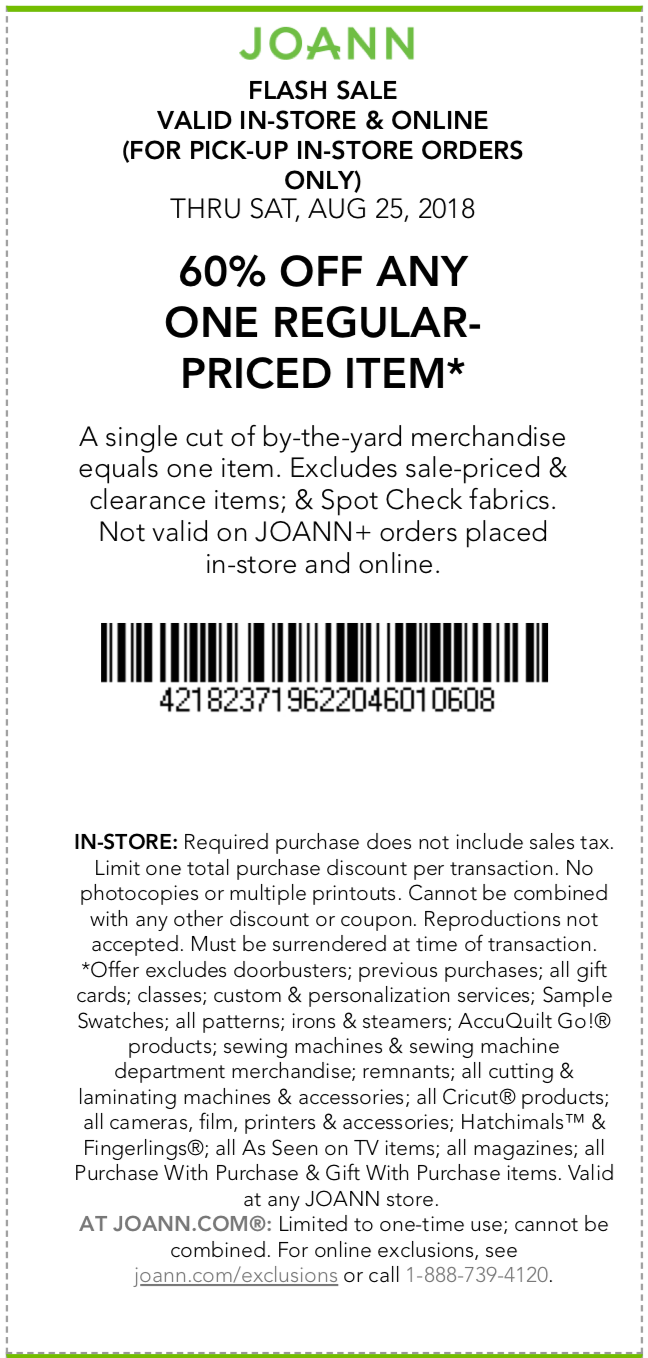 Joann Coupon November 2019 60% off a single item today at Joann