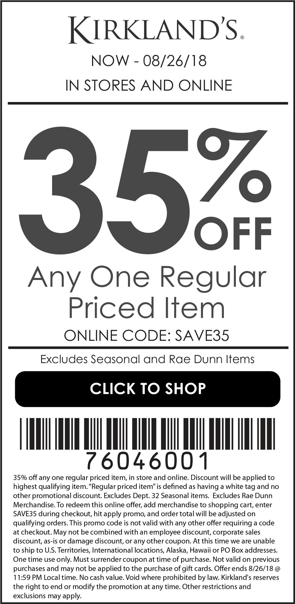 Kirklands Coupon November 2019 35% off a single item at Kirklands, or online via promo code SAVE35