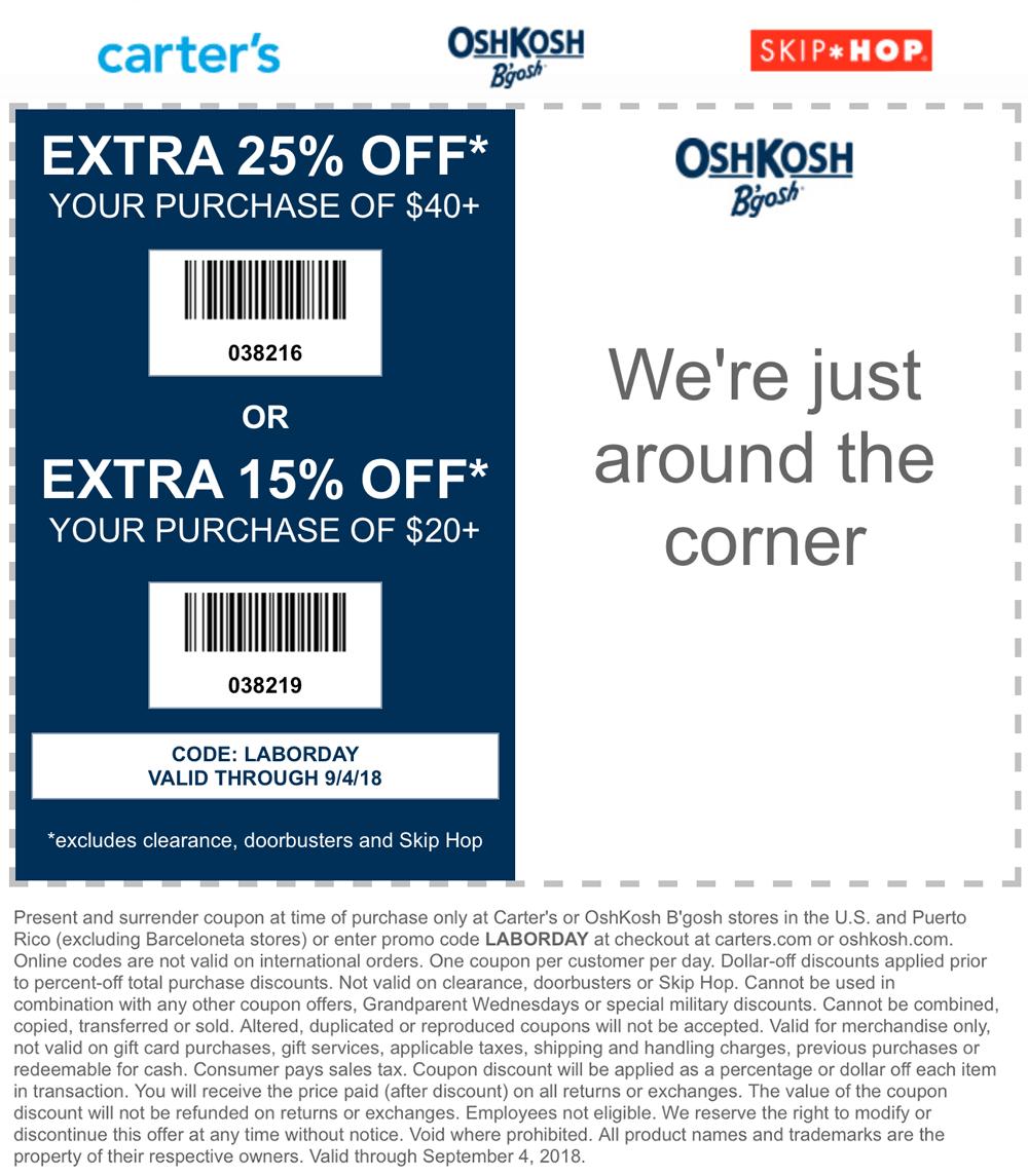 OshKoshBgosh.com Promo Coupon 15-25% off at OshKosh Bgosh, or online via promo code LABORDAY