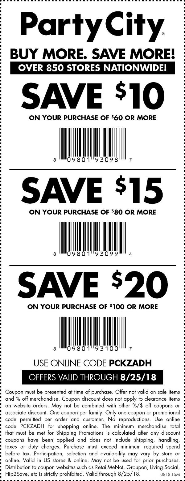 Party City Coupon November 2019 $10 off $60 & more today at Party City, or online via promo code PCKZADH