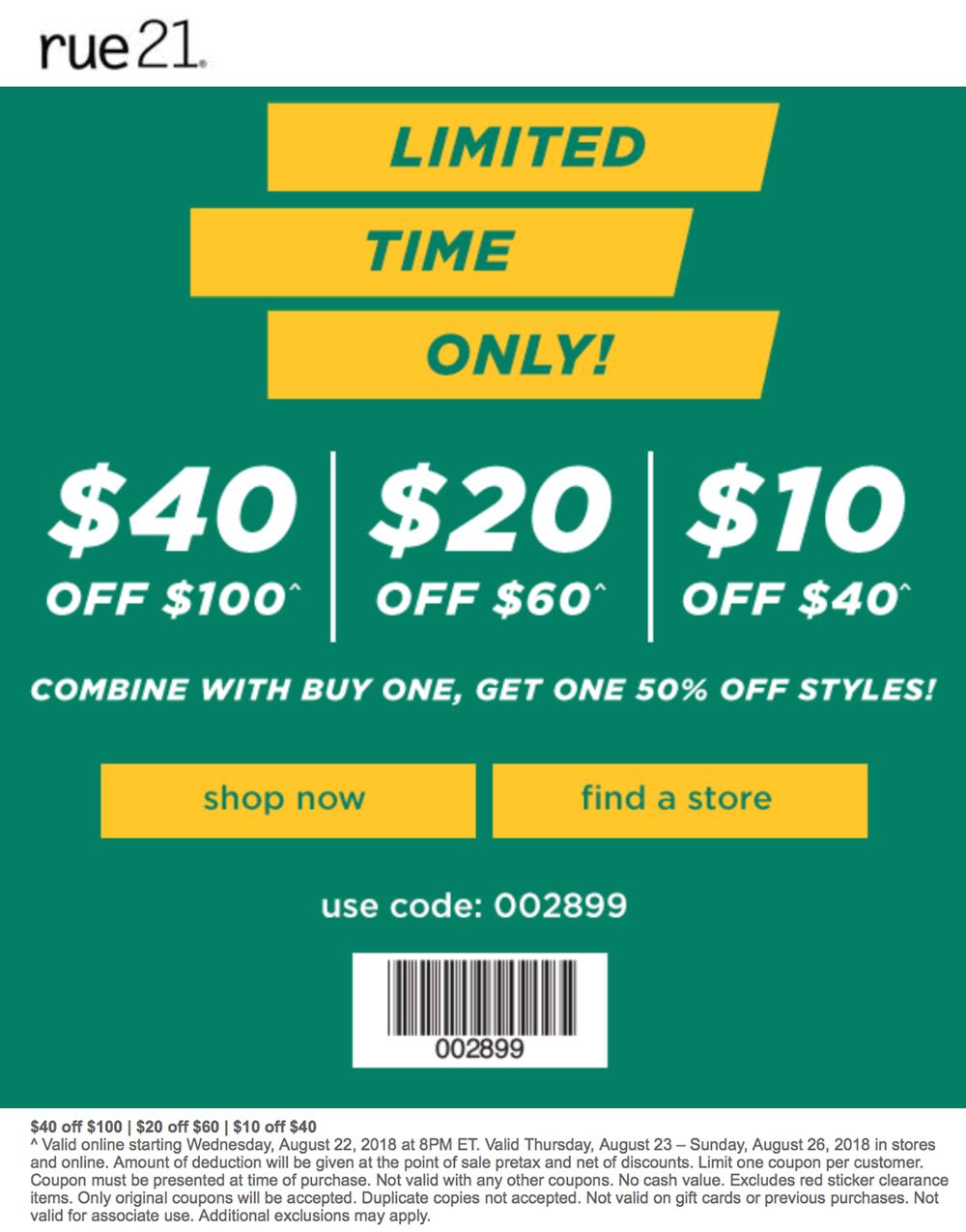 Rue21 Coupon November 2019 $10 off $40 & more at rue21, or online via promo code 002899