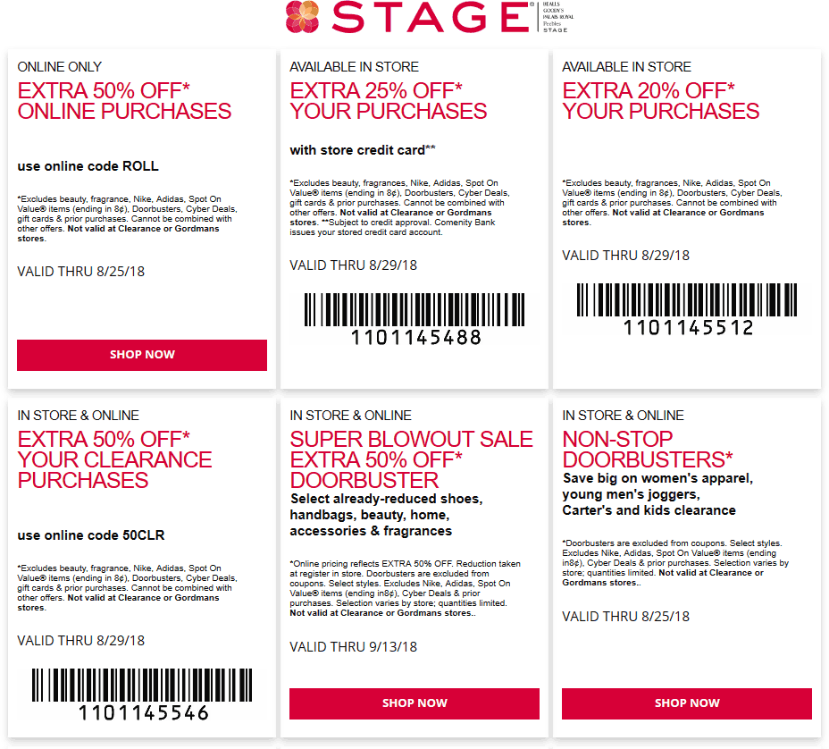 Stage Coupon November 2019 Extra 20% off & more at Stage stores