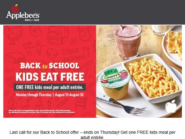 Applebees Coupon June 2019 Kids eat free with your entree at Applebees