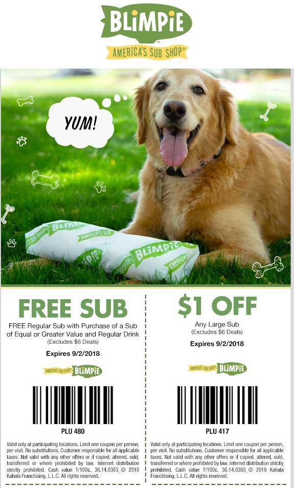 Blimpie Coupon November 2019 Second sub sandwich free at Blimpie