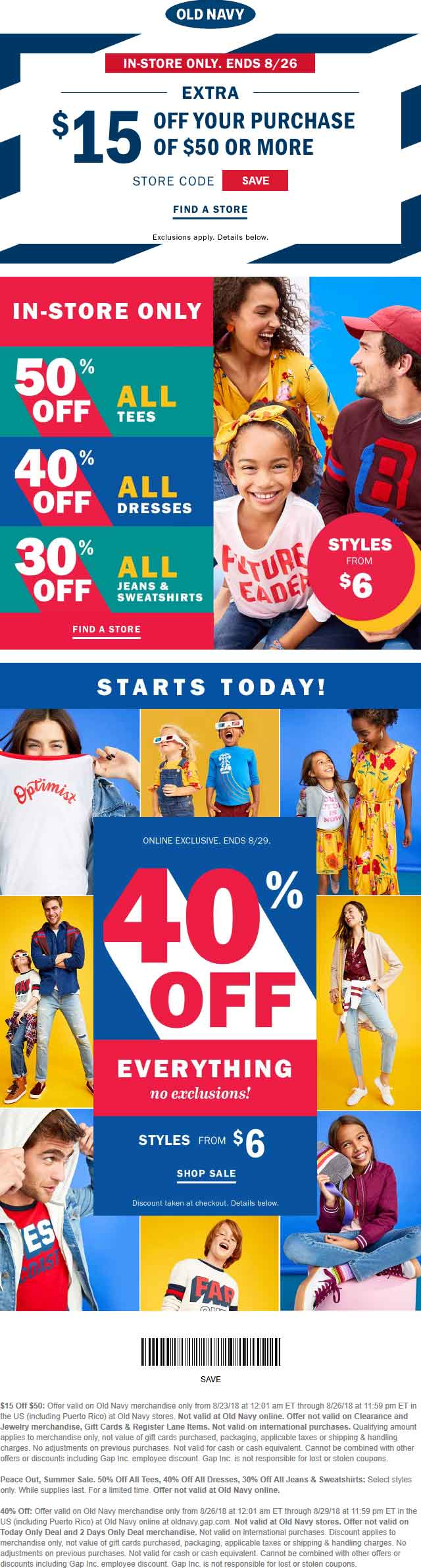 Old Navy Coupon November 2019 $15 off $50 at Old Navy, or 40% off everything online
