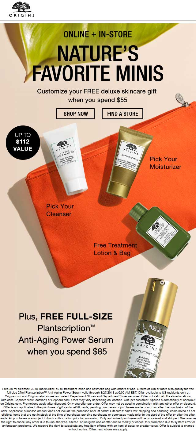 Origins Coupon November 2019 Free cleanser + moisturizer + treatment lotion + cosmetic bag with $55 spent & more today at Origins, ditto online