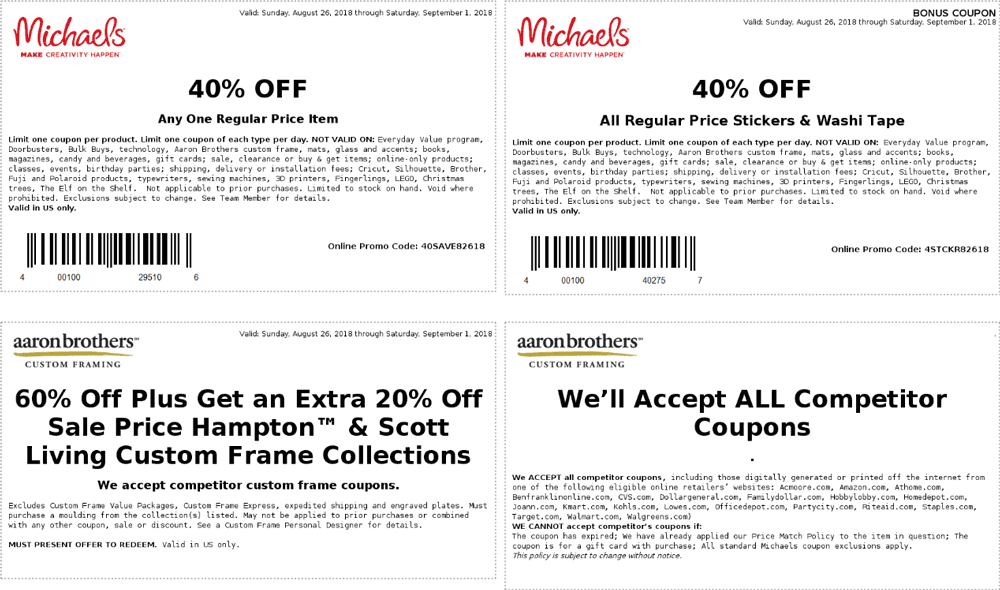 Michaels Coupon November 2019 40% off a single item at Michaels, or online via promo code 40SAVE82618