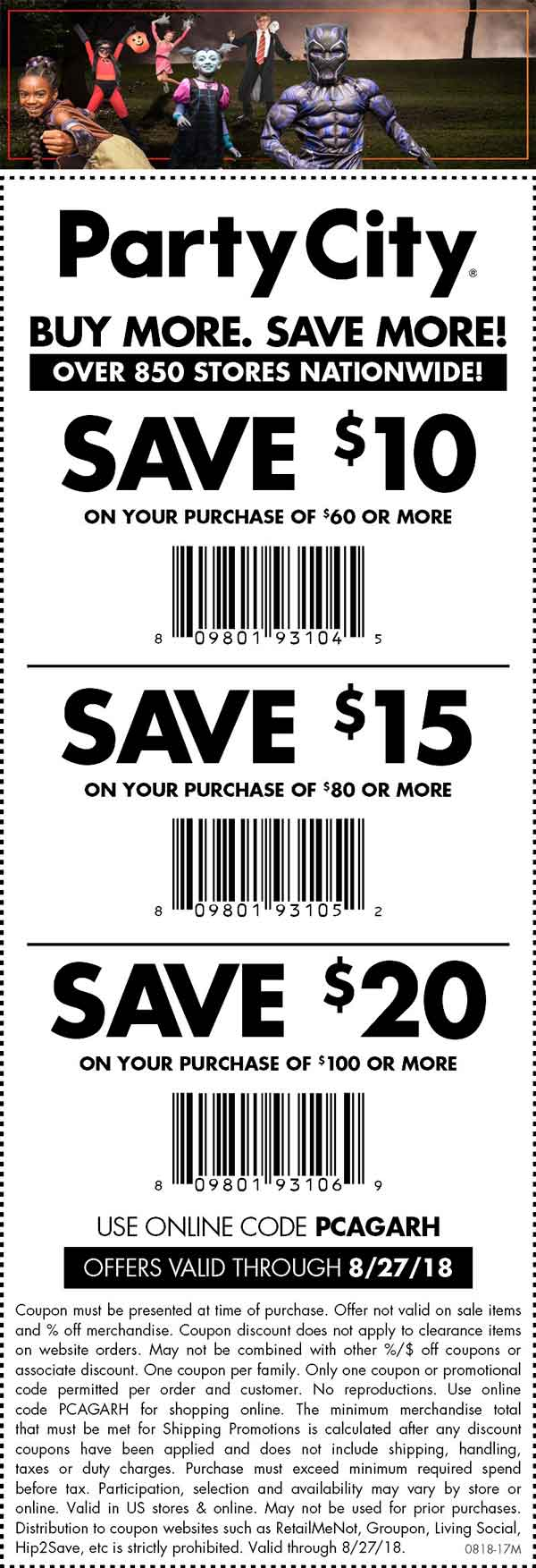 Party City Coupon November 2019 $10 off $60 & more today at Party City, or online via pomo code PCAGARH