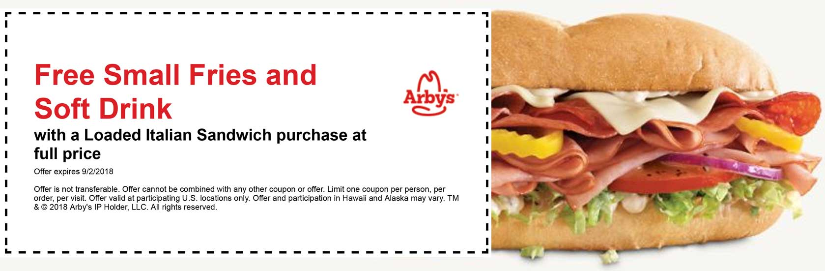 Arbys Coupon November 2019 Free fries & drink with your Italian at Arbys
